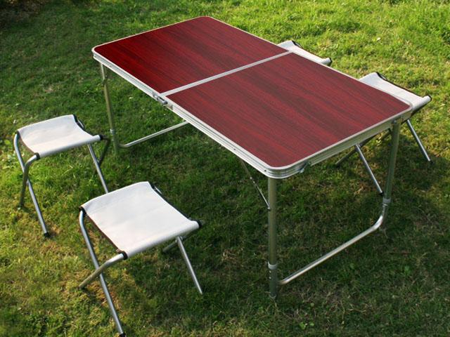 klapptisch campingtisch koffertisch tisch mit vier klappst hlen klappbar ebay. Black Bedroom Furniture Sets. Home Design Ideas