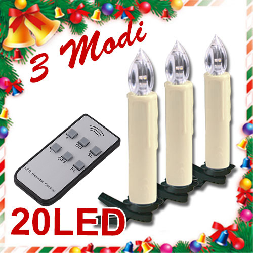 20 led lichterkette kerzen kabellos weihnachtskerzen christbaumschmuck ebay. Black Bedroom Furniture Sets. Home Design Ideas