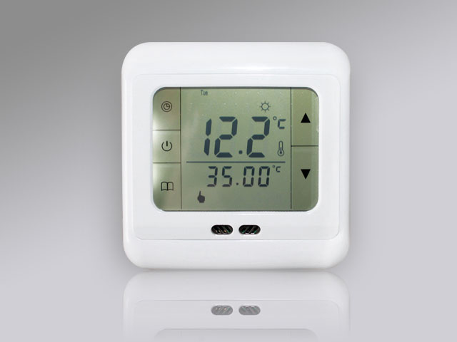 raumthermostat touchscreen thermostat fussbodenheizung digital blau weiss ebay. Black Bedroom Furniture Sets. Home Design Ideas