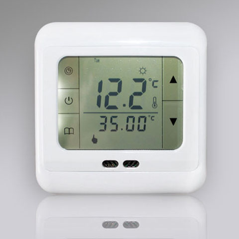 fussbodenheizung touchscreen thermostat raumthermostat digital blau weiss 10301 ebay. Black Bedroom Furniture Sets. Home Design Ideas