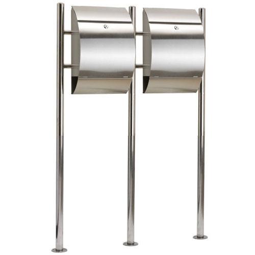 doppel edelstahl stand briefkasten postkasten standbriefkasten 15059 ebay. Black Bedroom Furniture Sets. Home Design Ideas
