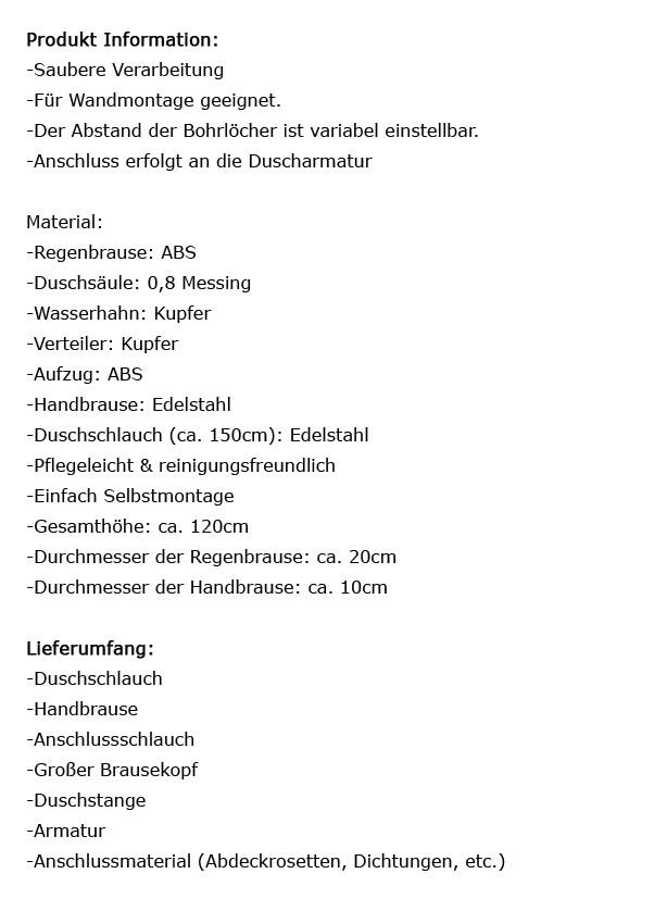 Dusche Mit Kopfbrause Und Handbrause : Dusche Duschstange Handbrause Regenbrause Kopfbrause Set Chrom 190187
