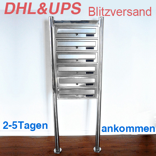 6 fach edelstahl standbriefkasten briefkasten anlage mailbox 15061 ebay. Black Bedroom Furniture Sets. Home Design Ideas