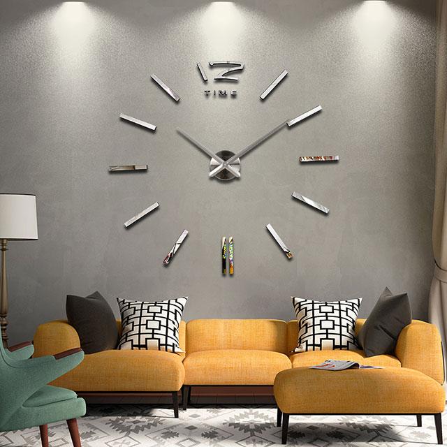 Wanddeko moderne wanduhr silber xxl 3d wandtattoo for Moderne wanduhr wohnzimmer