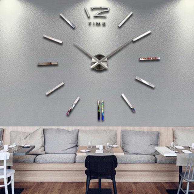 wanddeko moderne wanduhr silber xxl 3d wandtattoo. Black Bedroom Furniture Sets. Home Design Ideas