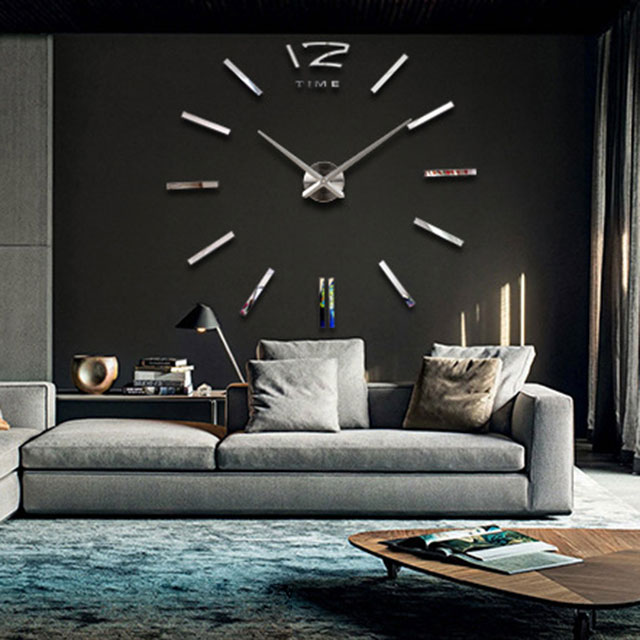wanddeko moderne wanduhr silber xxl 3d wandtattoo wohnzimmer diy wanduhr 390002 ebay. Black Bedroom Furniture Sets. Home Design Ideas