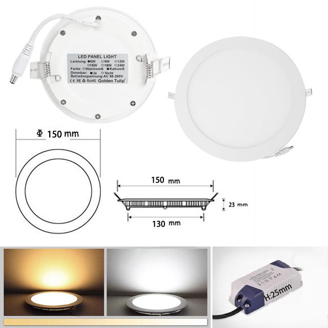 6 9 12 15 18 24w led panel leuchte dimmbar deckenlampe. Black Bedroom Furniture Sets. Home Design Ideas