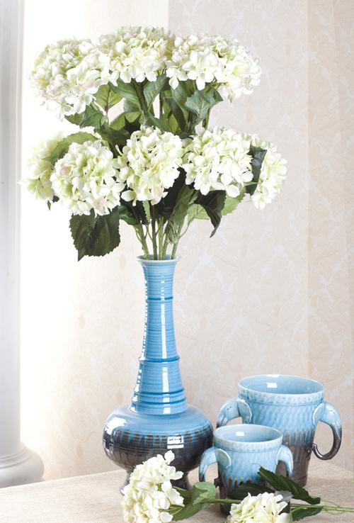 88cm kunstblumen k nstliche blumen seidenblumen hortensie 2 farben ebay. Black Bedroom Furniture Sets. Home Design Ideas