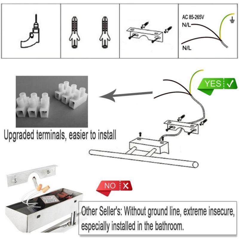 led spiegellampe spiegelleuchte schranklampe mit schalter badleuchte nd ebay. Black Bedroom Furniture Sets. Home Design Ideas